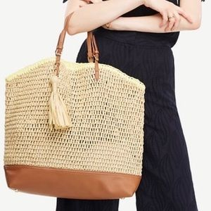 Ann Taylor Carryall Straw Tote